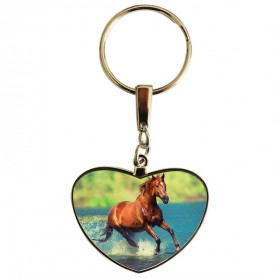 Porte clés coeur cheval galopant dans l'eau