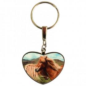 Porte clés coeur chevaux tête bêche