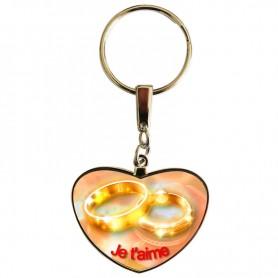 Porte clé saint valentin anneau et bague
