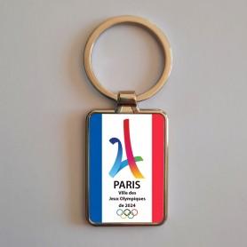 Porte clés rectangulaire grand modèle simple face JO Paris 2024