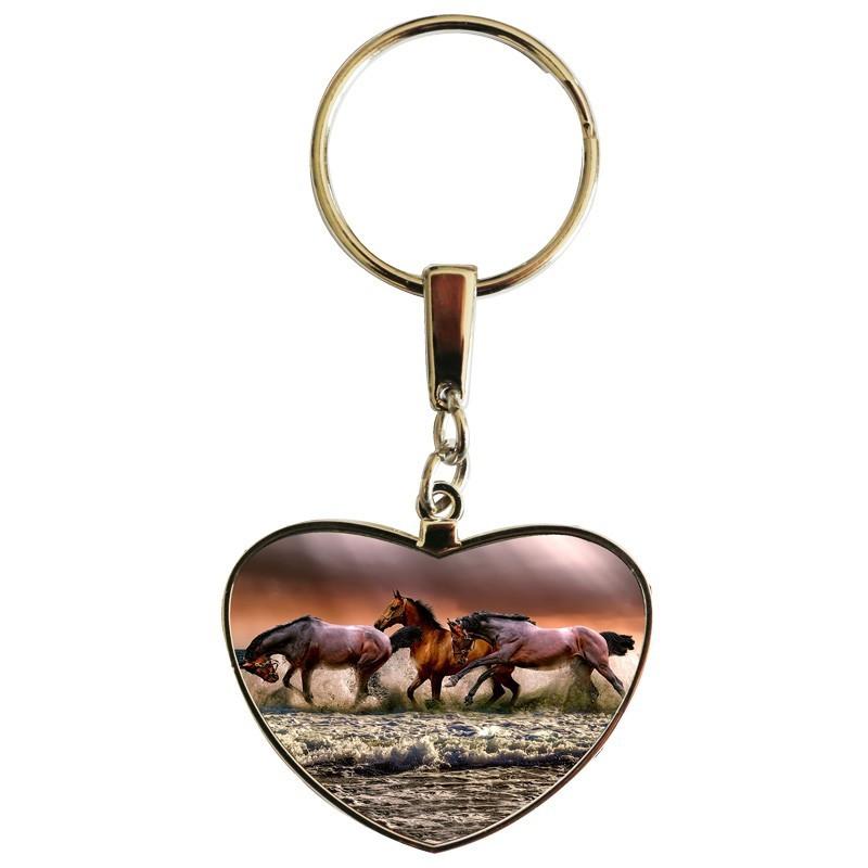 Porte clés coeur  personnalisable exemple: chevaux