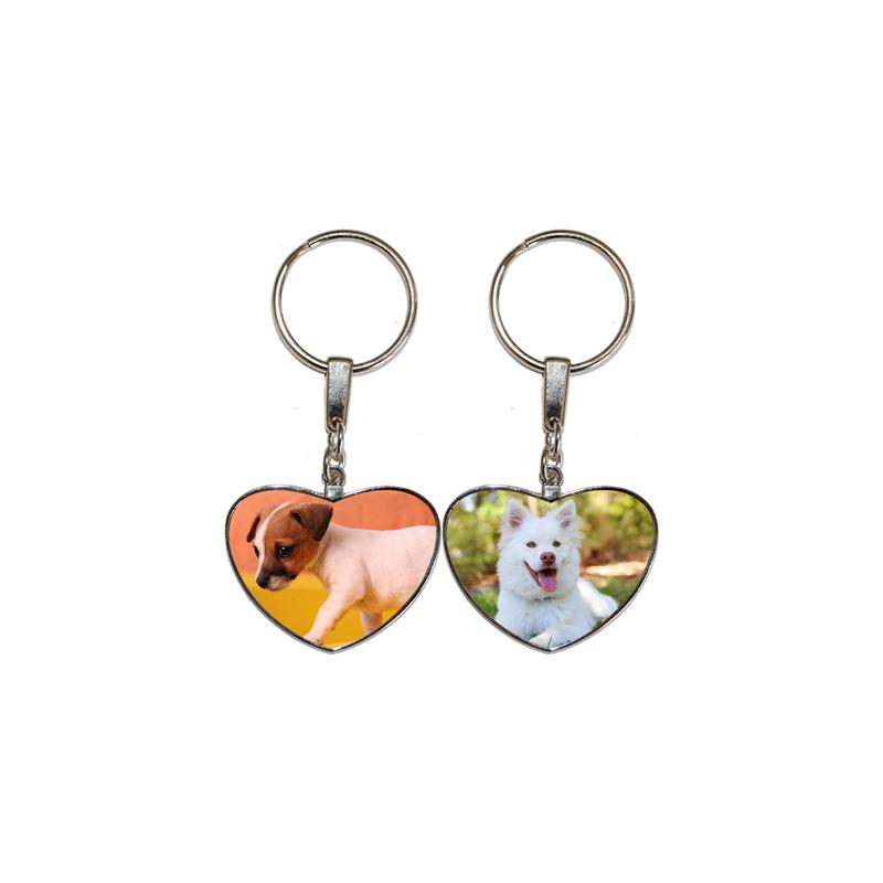Porte clés coeur avec 2 chiens