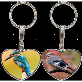 Porte clés coeur 2 oiseaux