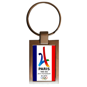 Porte-clés double face rectangulaire Paris 2024
