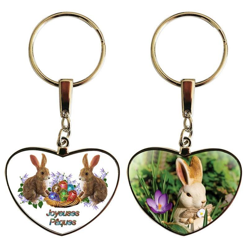 Porte clé coeur Pâques