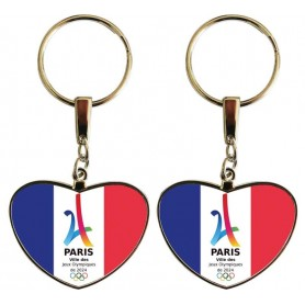 Porte-clés coeur double face Paris 2024